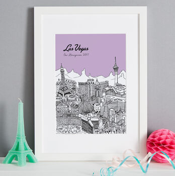 Las Vegas print in colour 3 Violet, font style 2, A4 size framed in white