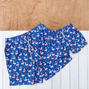 Father And Son Matching Rose Flamingo Swim Shorts - men's fashion