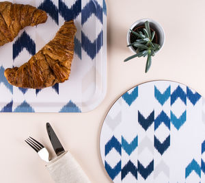 Blue Ikat Placemat Set In Round Or Rectangular
