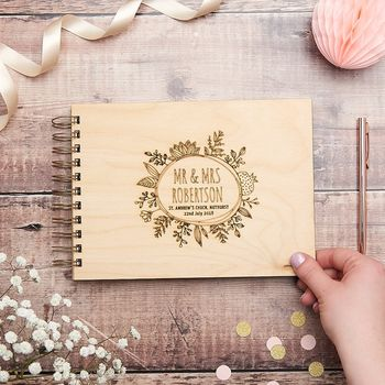 Personalised Botanical Mr And Mrs Wedding Guest Book