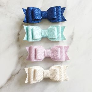 Textured Leather Effect Hair Bow - new in baby & child