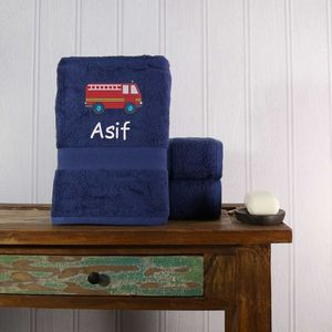 Kids Personalised Fire Engine Bath Towel - bathroom