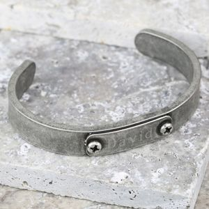 Men's Personalised Antique Silver Plated Cuff - bracelets
