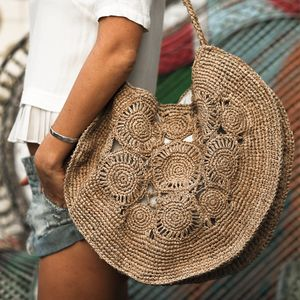 Straw Round Flower Bag
