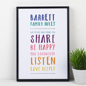 Family Rules Personalised Print - posters & prints