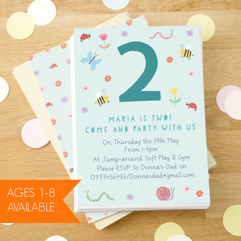 Personalised Garden Children's Birthday Invitations