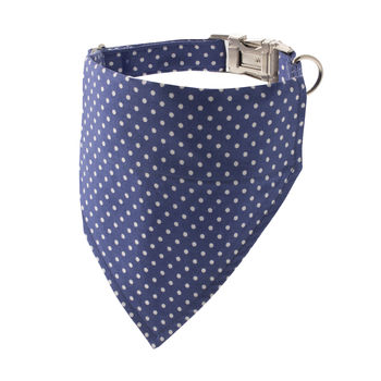French Blue Polka Dot Bandana Dog Collar