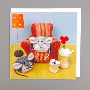 Tea At Home Mouse Greeting Card