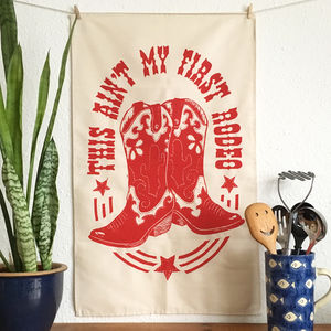 Red Cowboy Boot Rodeo Funny Tea Towel - kitchen linen