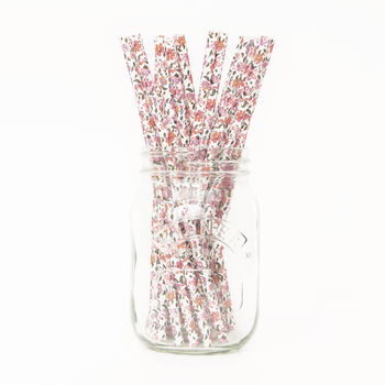Floral Print Paper Party Straws