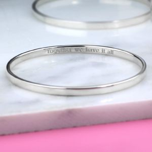 Personalised Silver Bangle - gifts for her sale