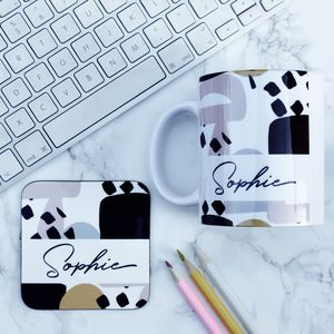 Personalised Name Mug And Coaster Set - dining room