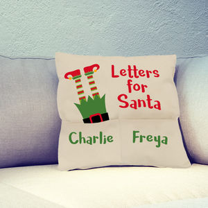 Personalised Letter To Santa Christmas Eve Cushion Elf