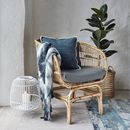 Rattan Armchair With Grey Cushions