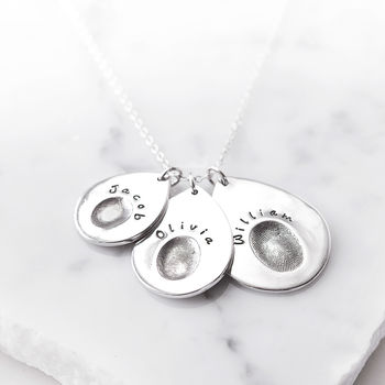 Silver Personalised Multi Teardrop Fingerprint Pendant