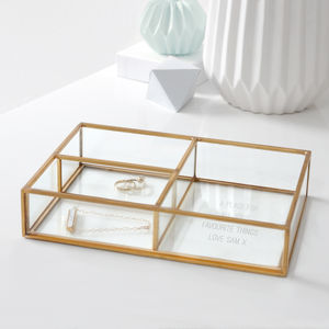 Personalised Glass Compartment Tray - jewellery storage & trinket boxes