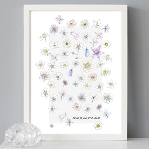 'Anemones' Spring Flower Print - posters & prints
