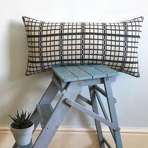Screen Printed Geometric Grid Rectangular Cushion - whatsnew