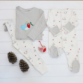 Unisex Xmas Sibling Robin Pyjamas And Sleepsuit Set