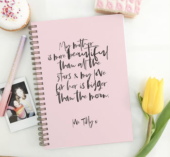 Personalised Notebook For Mother's Day 'Calligraphy'