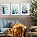 Modern Teal Abstract Waves Set Of Three Framed Print