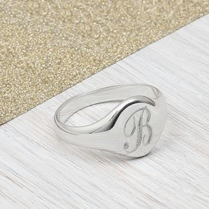 Ladies Sterling Silver Monogram Signet Ring