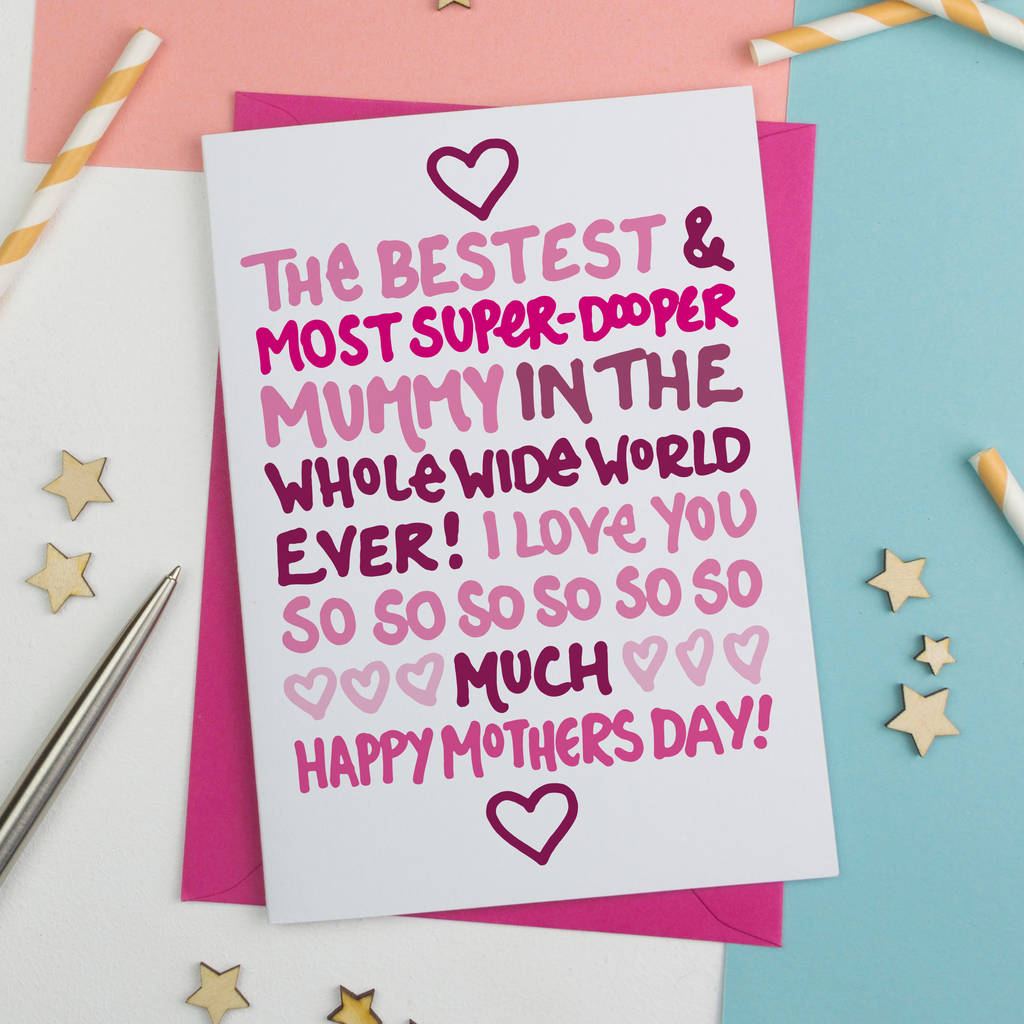 Best Mum Mothers Day Card By A Is For Alphabet Notonthehighstreet Com