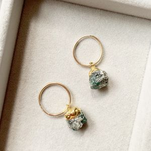 Emerald May Birthstone Hoop Earrings