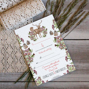 Stag And Thistle Ready To Print Wedding Invitations - wedding stationery