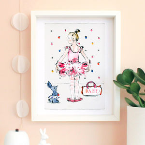 'Little Ballerina' Ballet Dancer Personalised Print