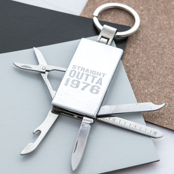 Personalised 'Straight Outta Compton' Birthday Keyring