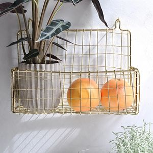 Wall Mounted Storage Basket, Gold Or Copper - storage & organising