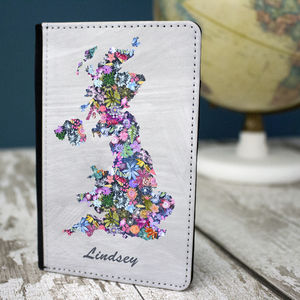 Personalised Map Floral Passport Holder