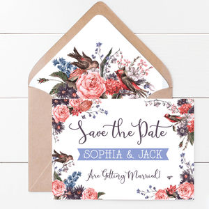 Eleanor Birds And Blooms Save The Date Card - wedding stationery
