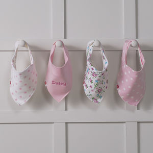 Personalised Spots And Flowers Four Baby Bandana Bibs - baby care