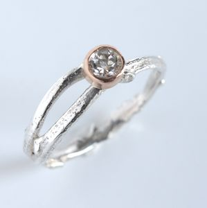 Handmade Silver And Rose Gold Woodland Twig Ring - wedding fashion