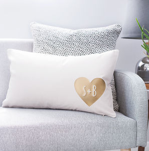 Personalised Couples Heart Cushion - bedroom