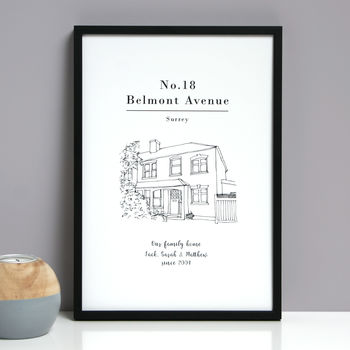 Personalised House Line Drawing Print