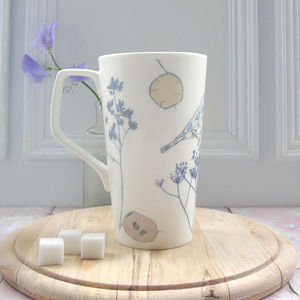 Bone China Honesty And Chaffinch Design Latte Mug