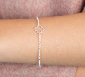 Delicate Sterling Silver Clover Bracelet - lucky charm jewellery