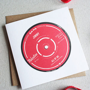 Personalised Record Label Valentine's Card - love & romance cards