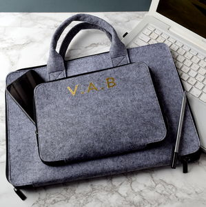Personalised Grey Laptop/Tablet Briefcase - laptop bags & cases