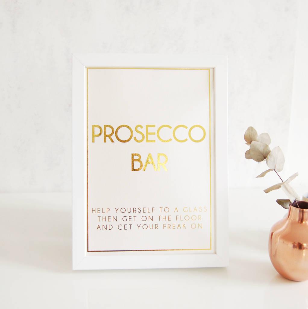 Gold Wedding Sign Prosecco Bar