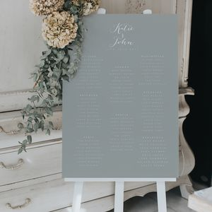 Timeless Grey Table Plan - new in wedding styling