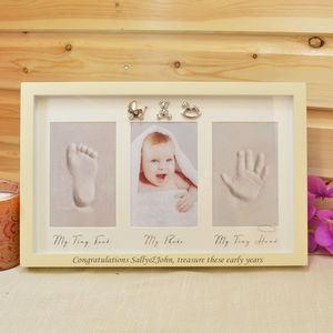Personalised Baby Clay Hand Foot Print Photo Frame Gift - picture frames