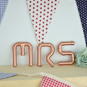 'Mr And Mrs' Copper Letters