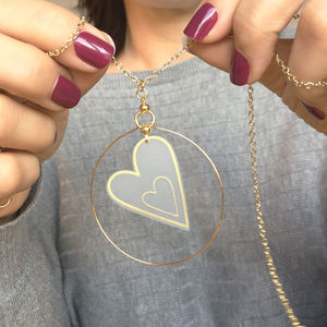 Double Heart Hoop Necklace - necklaces & pendants