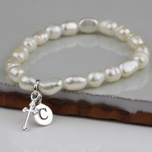 Personalised Children's Pearl Christening Bracelet - charms, charm bracelets & necklaces