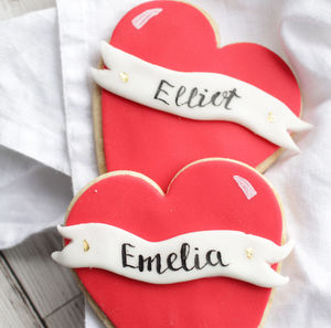 Personalised Valentines Heart Duo Sugar Biscuits Set