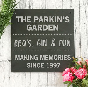 Personalised Garden Engraved Slate Sign - personalised